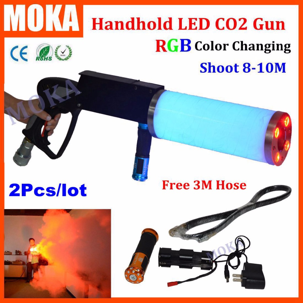 2Pcs/lot Special Effects Gun Co2 Jet Gas Gun Co2 DJ Gun LED CO2 Jet spray machine For DJ Stage Light