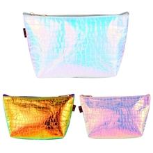 все цены на THINKTHENDO New Hologram Holographic Pencil Pen Case Bag Cosmetic Makeup Storage Bags Purse 2018 Fashion Make Up Bag for Girl онлайн