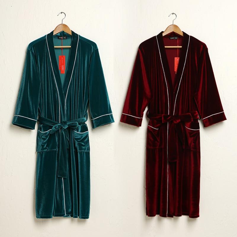 ZDFURS 2018 new gold velvet bath robe summer thin robe couple bathrobe hotel home clothes