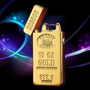 Image 1 - USB Зажигалка электронная перезаряжаемая плазменная Зажигалка Bullion импульсная дуговая зажигалка, ветрозащищенная гром Золотой кирпич металл