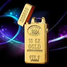 USB encendedor electrónico recargable encendedor de oro pulsada arco encendedor a prueba de viento trueno ladrillo de oro Metal