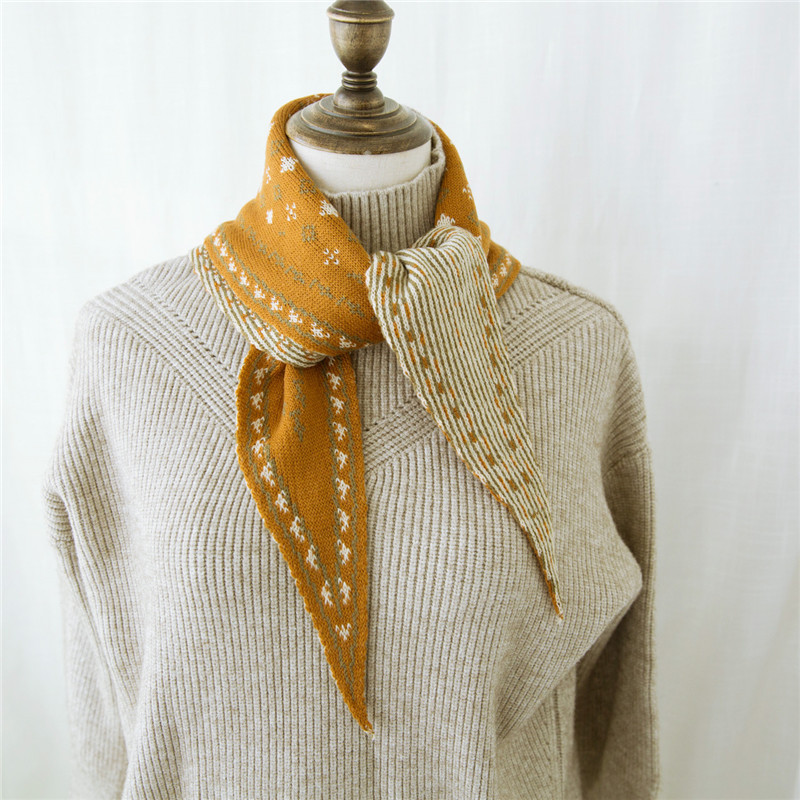 New Small Student Scarf Men And Women Fall/winter Korean Version Of Double Knit Wool Small Floral Scarf Warm Bicolor Neck Scarf