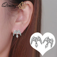 Boucles d'oreilles rétro slaves QIMING pour femmes hommes corbeau aigle faucon Vintage Animal oiseau charme Viking Odin amulette Stud mâle boucle d'oreille(Hong Kong,China)