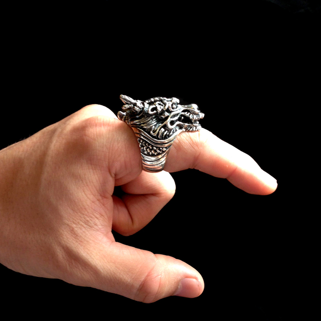 ZABRA Gothic Solid 925 Sterling Silver Dragon Ring For Men Vintage Steampunk Biker Big Cool Domineering Rings Man Jewelry
