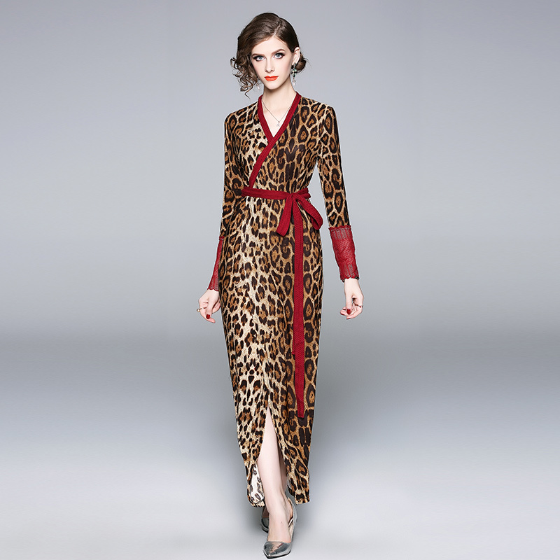 US $14.68 40% OFF Runway Leopard Wrap Dress Women Autumn Winter Dresses  Long Sleeve Party Laces Plus Size Robe Femme Hiver 2019 Bodycon Maxi  Dress-in ...