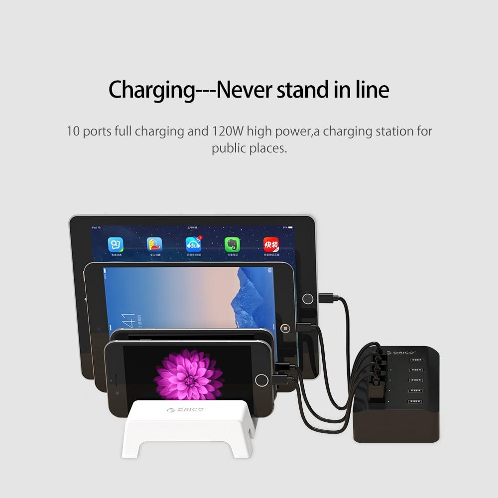 ORICO 10 Limanları USB Smart doldurma stansiyası 5V2.4A 120W AB - Cib telefonu aksesuarları və hissələri - Fotoqrafiya 2