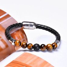 BRIGHT MOON 2019 New Natural Stone Magnet Bracelet Magnetic Health Leather Watch  Women Men