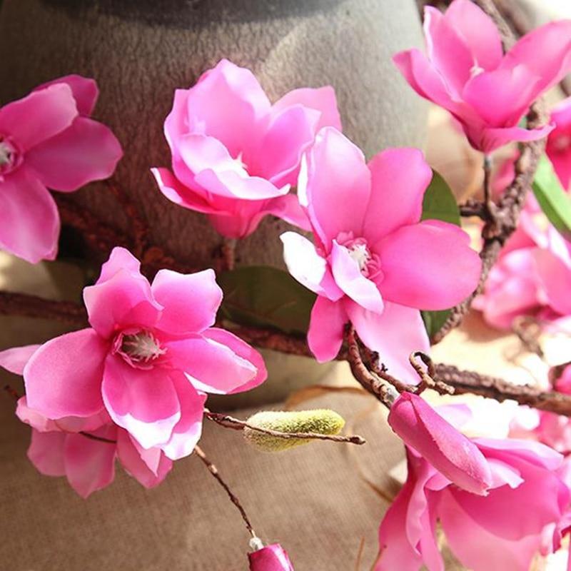 20 Pcs Aritificial Magnolia Vite Vite Fiori di Seta Decorazione di Cerimonia Nuziale Viti Della Parete Del Fiore di Orchidea Rami di Albero di Orchidea Corona - 3
