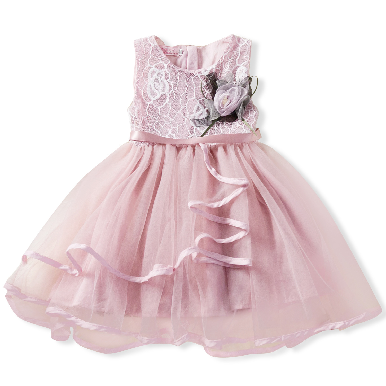 Careful Lace Little Princess Dresses Summer Solid Sleeveless Tulle Tutu Dresses For Girls 2 3 4 5 6 Years Clothes Party Pageant Vestidos