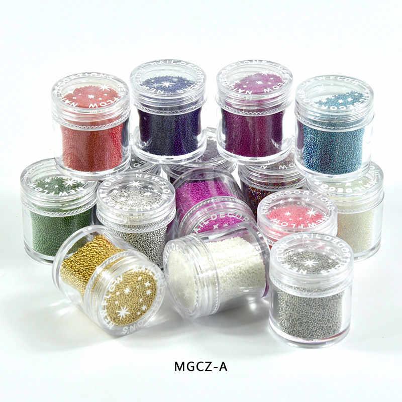 1 צנצנת גליטר קוויאר אמנות חרוז ריינסטון חרוז 0.6-0.8-1mm 15 צבעים 3D נייל Decors גביש כדור גליטר הרבעה דקור, MGCZ-A