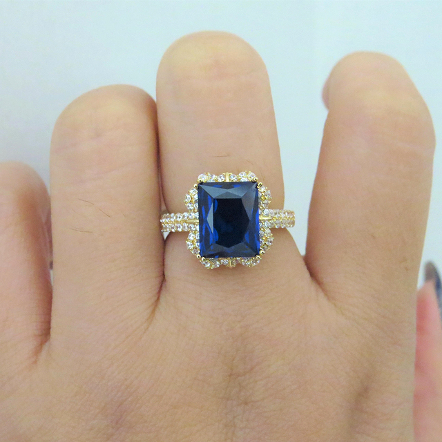 14k Yellow Gold 3.79ct Lab Sapphire Women Ring with Moissanite Lab Diamond Setting 2018 New Fine Jewelry Wedding Band Engagement