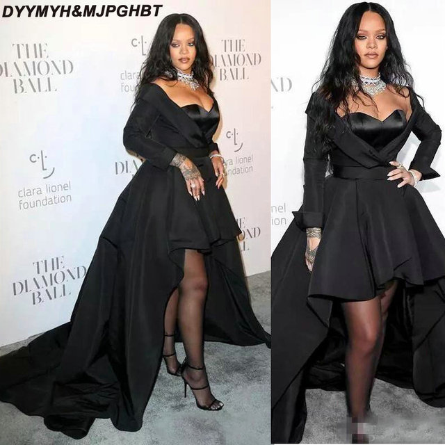 New Long Black Gothic Evening Dresses 2019 Off Shoulder Long Sleeve  Asymmetrical Rihanna Pageant Party Gowns abb8d7c53