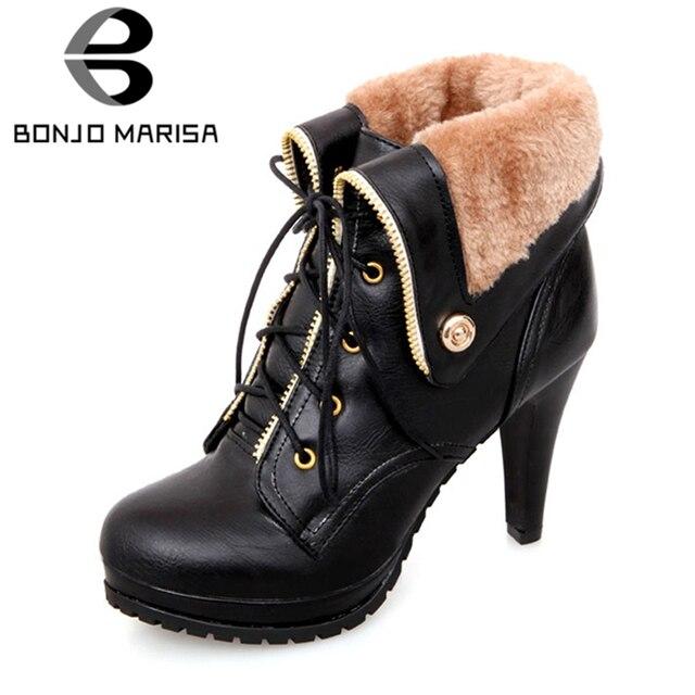 5c279d8ef92 BONJOMARISA Women Short Ankle Boots Warm Winter Fur Shoes Rubber Sole High  Heels Platform Snow Boots Big Size 34-43