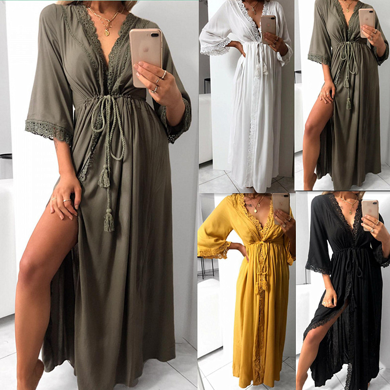 Summer Floral Print Sexy V Neck Ladies High Waist Long Women Dress New Fashion Dress in Dresses from Women 39 s Clothing