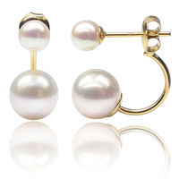5 8.5MM White Real Akoya Double Pearl Ear Stud Earrings Solid Yellow Gold