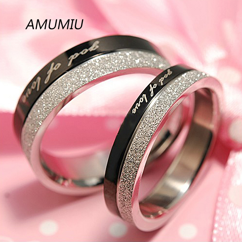 Fashion Black & Silver God Of Love Rings For Lover 316L Stainless Steel Charm Couple Love Wedding Romantic Party Gifts HR016