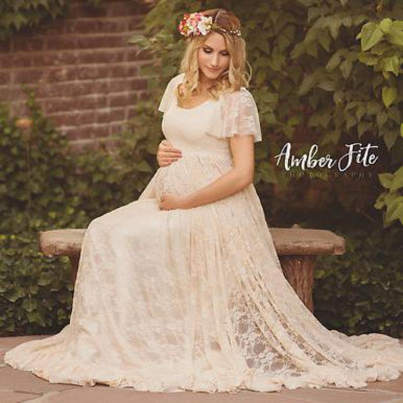 Women White Maternity Photography Props Lace Pregnancy ...