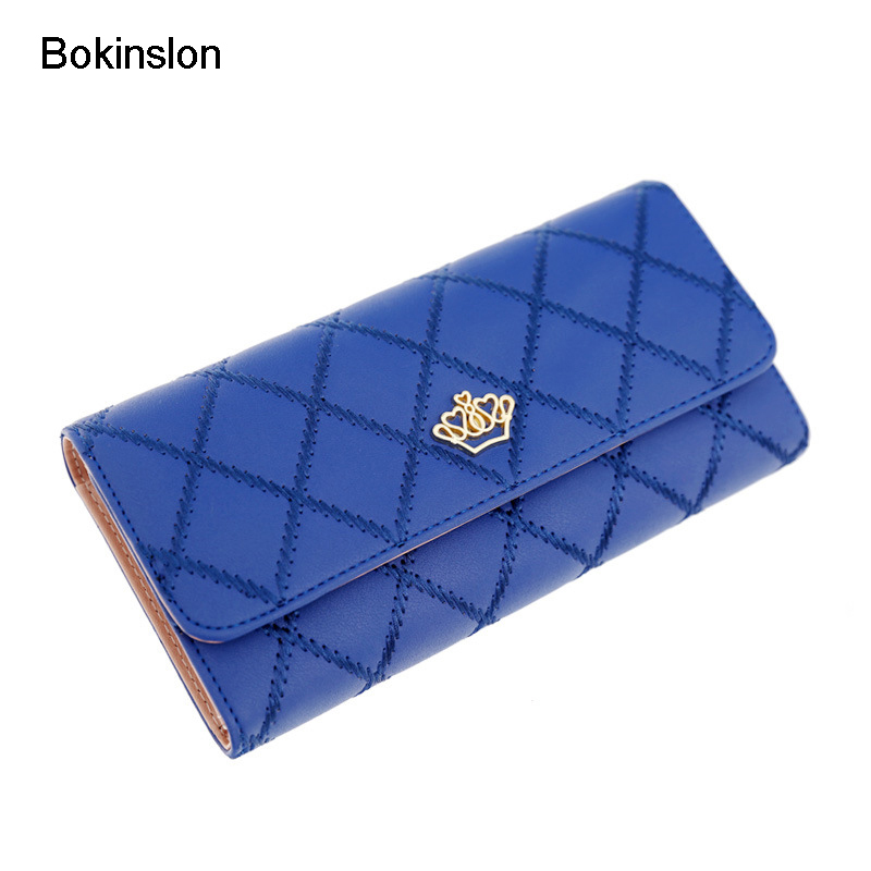 Bokinslon Woman Coin Purse PU Leather Solid Color Women Wallets Diamond Lattice Small Fresh Ladies Hand Card Bags