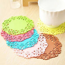 Cute Colorful Silicone Soft Rubber Coaster Cup Mat Pad Hot Mug Glass Plate dining table placemat coaster kitchen accessories(China)