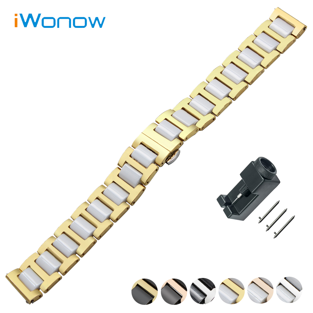 Ceramic + Stainless Steel Watch Band 20mm for Ticwatch 2 42mm Quick Release Strap Butterfly Buckle Wrist Belt Bracelet ceramic stainless steel watch band 20mm