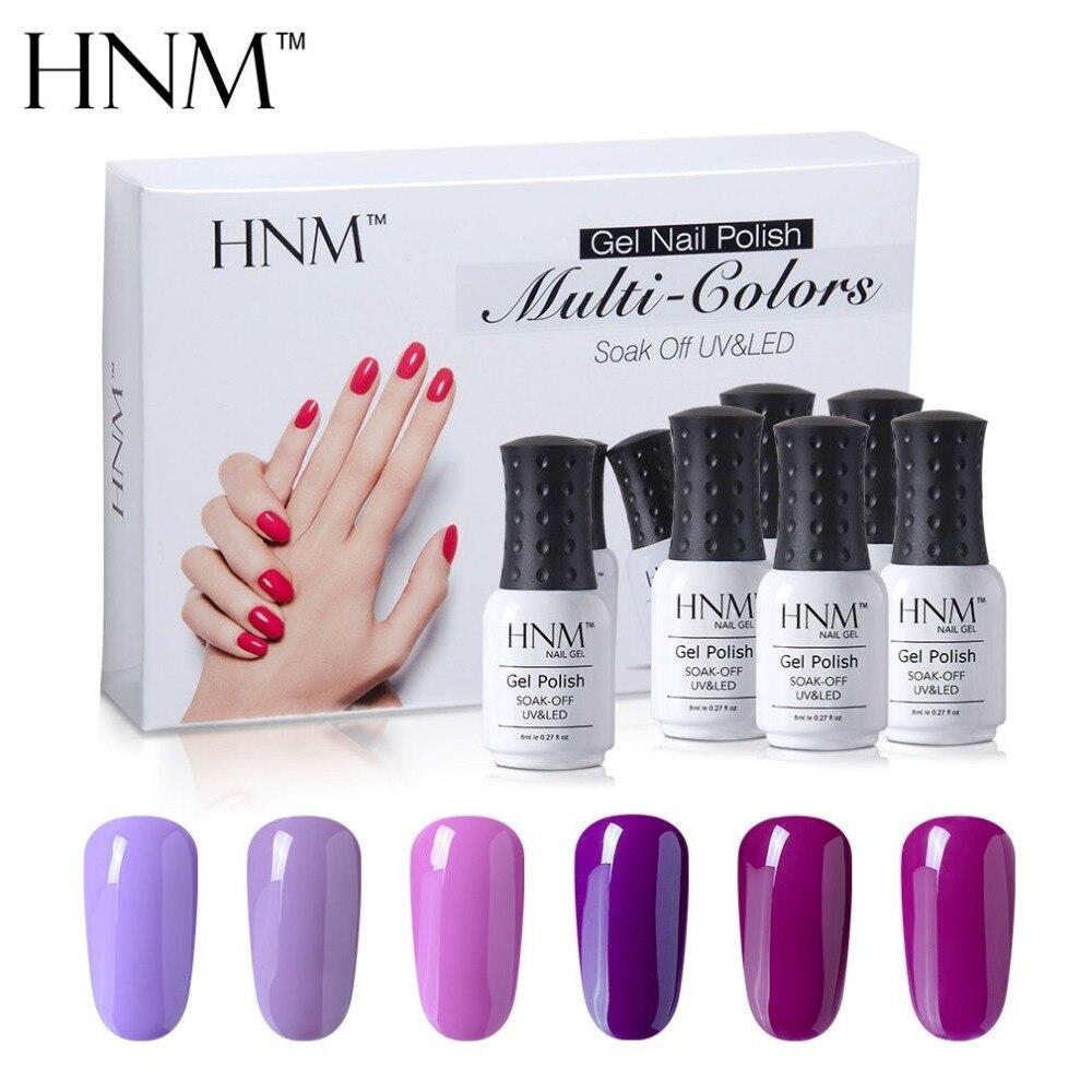 HNM 6pcs/lot Set 8ml Gel Polish Kit Need Base Top UV LED Lamp Gift Box Set DIY Nail Art Manicure Lacquer Lucky Varnish Kit Tool
