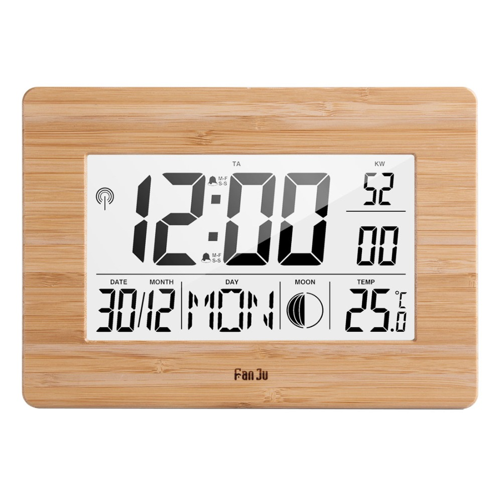FanJu Digital Wall Clock LCD Big Large Number Time Temperature Calendar Alarm Table Desk Clocks Modern Design Home Office Decor(China)