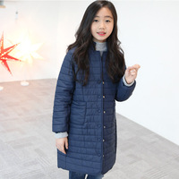 New Style 2017 Solid Long Winter Jackets For Girls Trench Coats Kids Coats Children Outerwear Baby