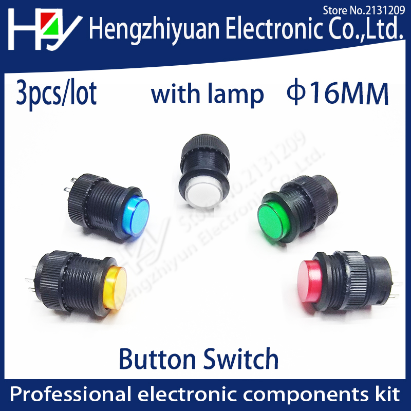 цена на Hzy 16mm Self-locking push button switch with LED ON-OFF blue Green Red Yellow with lamp recovery button switch 3A125V AC 4 pins