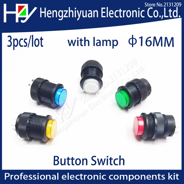 hzy 16mm self locking push button switch with led on off blue green