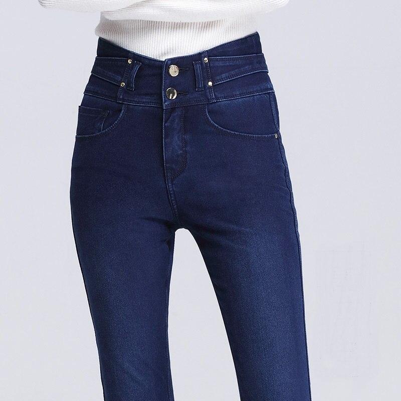 Женские брюки, зимние, матовые, толстые, шерстяные штаны, верхняя одежда, кашемировые, шерстяные джинсы, обтягивающие, с высокой талией, элас... - 4