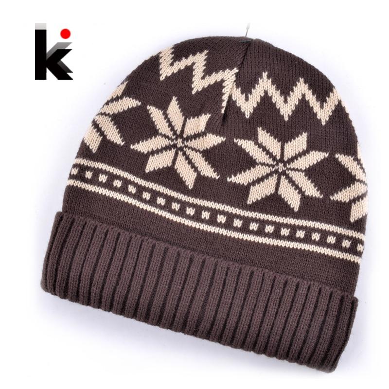 2018 Moške Skullies zimske klobuke maska kapa pletena volna klobuk plus velvet rasta kapa Debelejši Snowflake pokrovček pokrova za moške