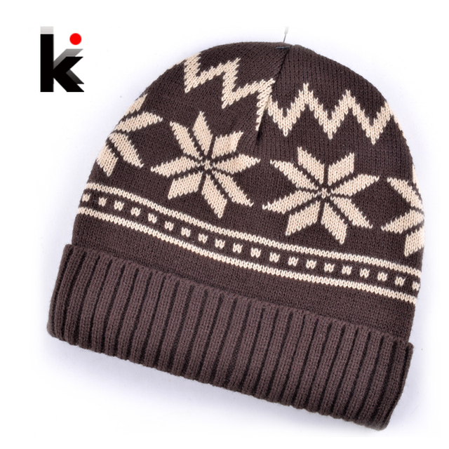 a4883007438 2018 Mens Skullies winter hats mask beanie knitted wool hat plus velvet  rasta cap Thicker Snowflake bonnet caps for men
