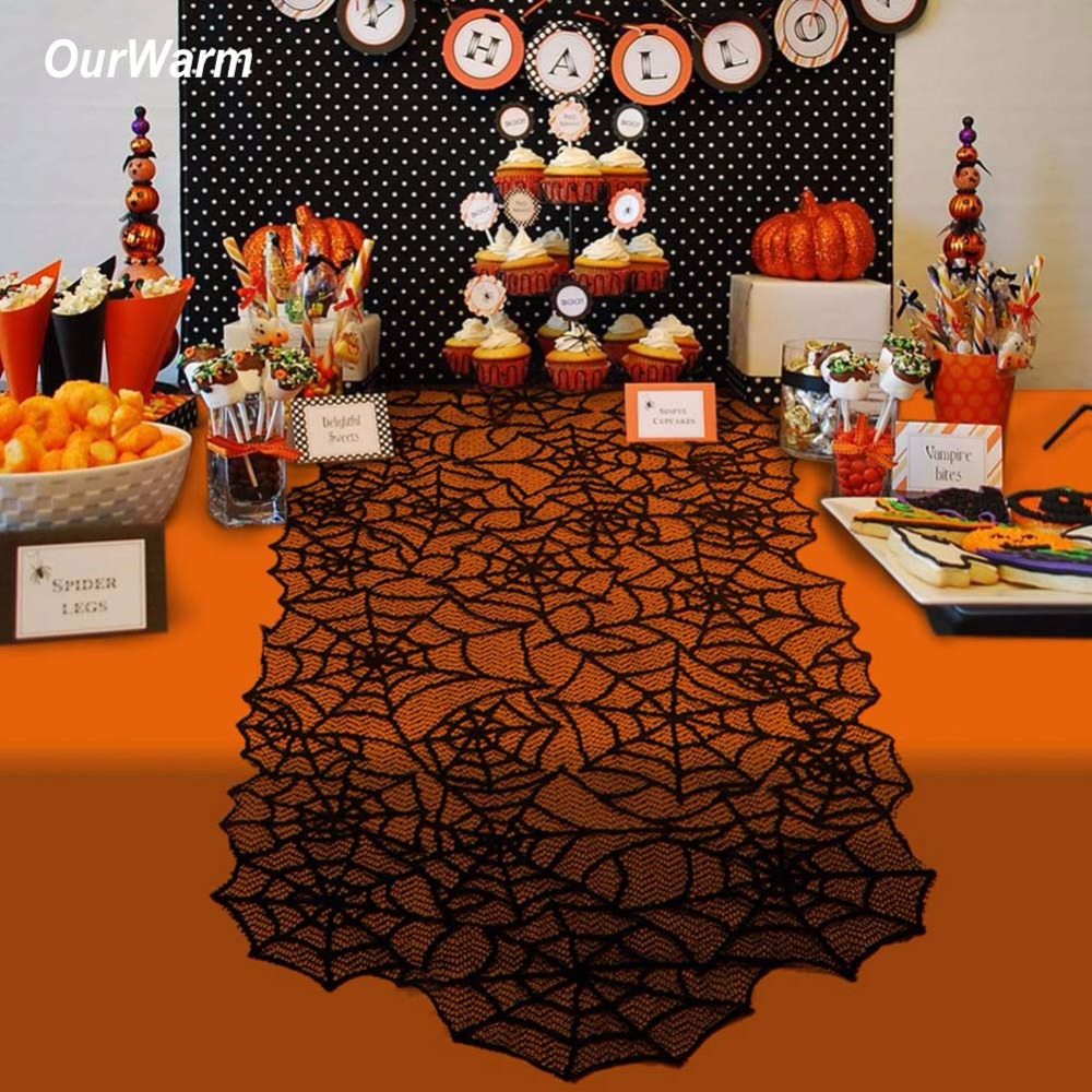Ourwarm 1pc 20X80inch Halloween Spider Web Table Runners Black Lace Tablecloth Halloween Table Decoration Event Party Supplies