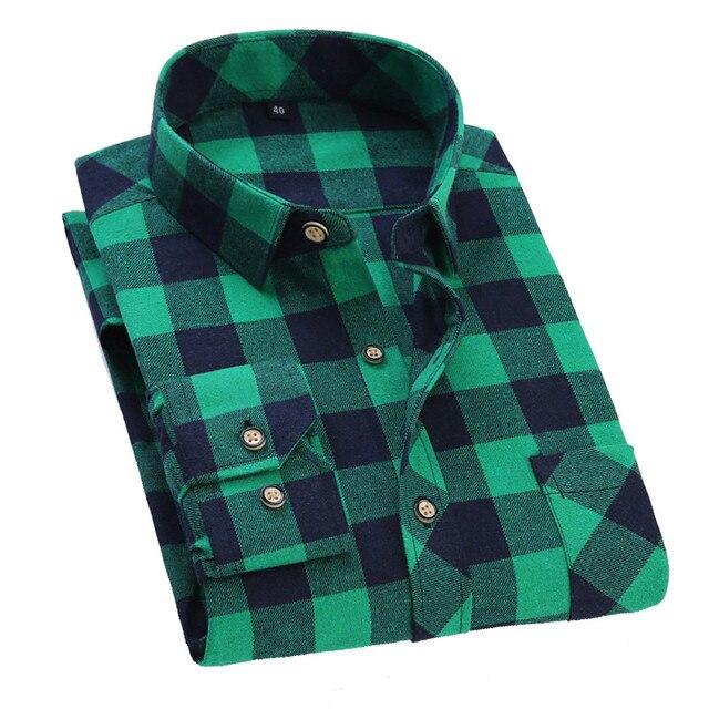 Men Long Sleeve Casual Plaid Shirt