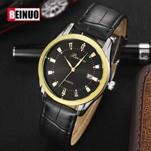 Los hombres de Cuarzo Relojes Hombres Marca de Lujo de Cuero Señores Mens Hombre Reloj de Cuarzo Reloj de pulsera Relojes Militares Relogio masculino