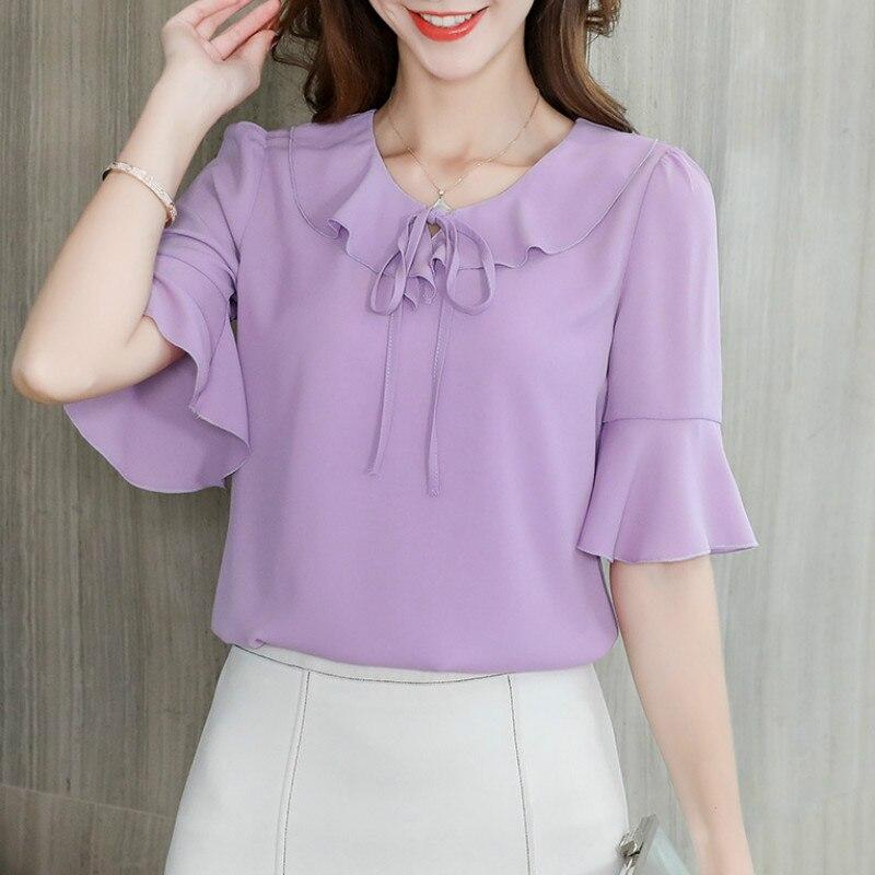 2019 Spring Summer Shirts New Women's Tops Korean Leisure Ruffles Short Sleeve Chiffon Shirts Office Ladies Blouses Womens Blusa