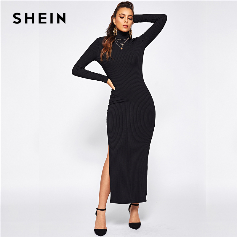 SHEIN Black Office Lady Solid Split Side Rib Knit Fitted High Neck Long Sleeve Dress Autumn Elegant Workwear Women Dresses