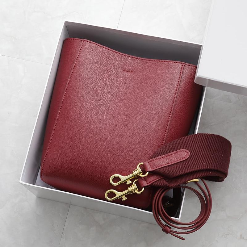 2019 Vintage Brand Women's Leather Handbag Genuine Real Leather Wide Strap Female Shoulder Bag Band Sangle Bucket Bag 2 Strap