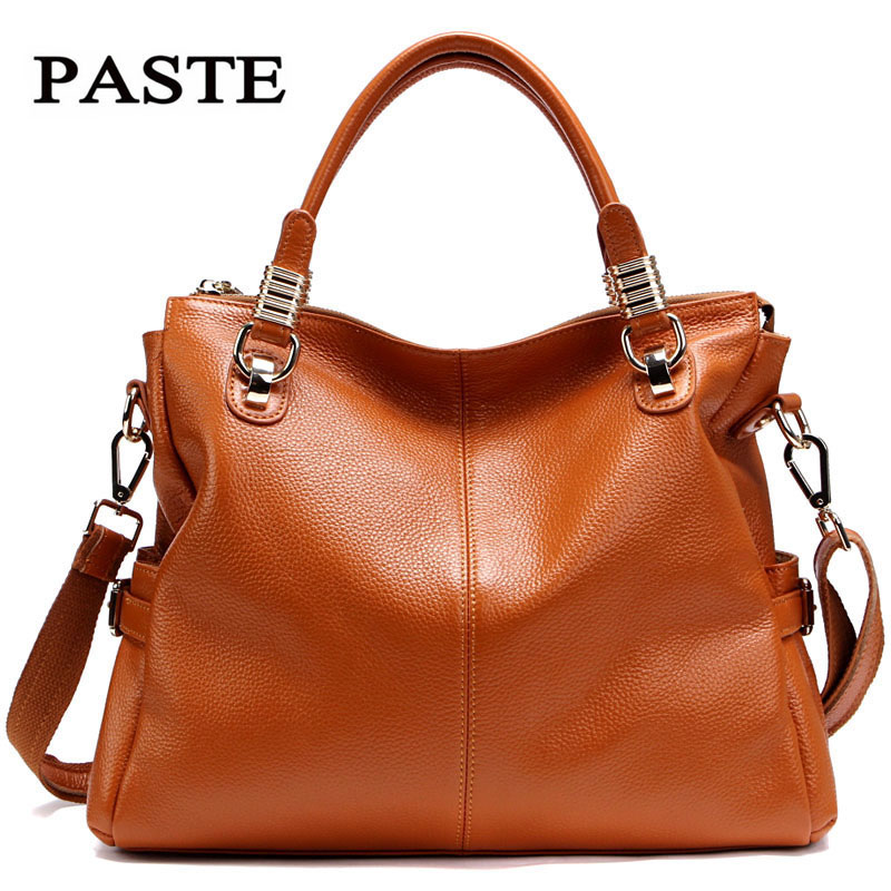 70c700ede82 Women Genuine Leather Handbags Paste 2017 female shoulder cowskin bags  Brown Black Orange Yellow White Red leather bag2P0951