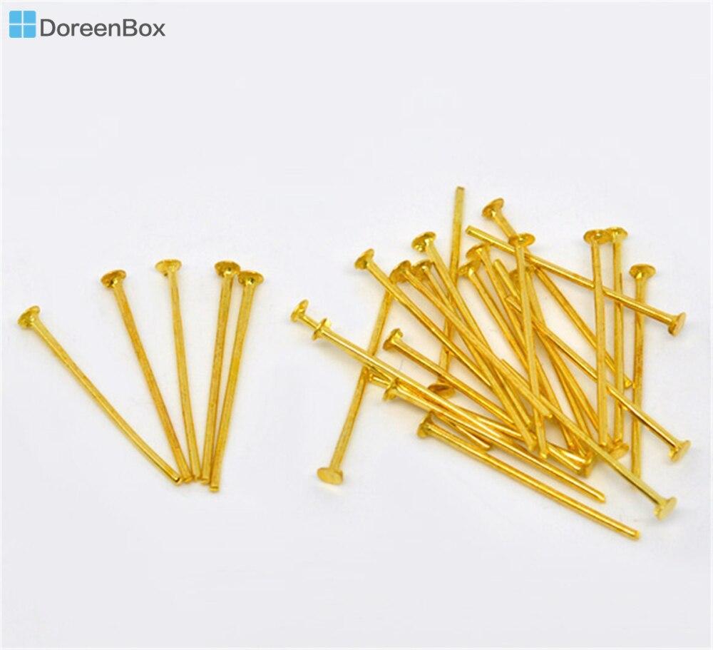 Doreen Box Lovely 700PCs Gold Color Head Pins 0.7x20mm(21 Gauge) (B01517)