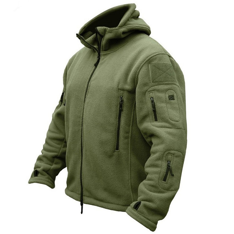 Autumn men fleece jacket Military Tactical soft shell hooded coat winter mens Multi pocket zipper Warm Polar Army outerwear