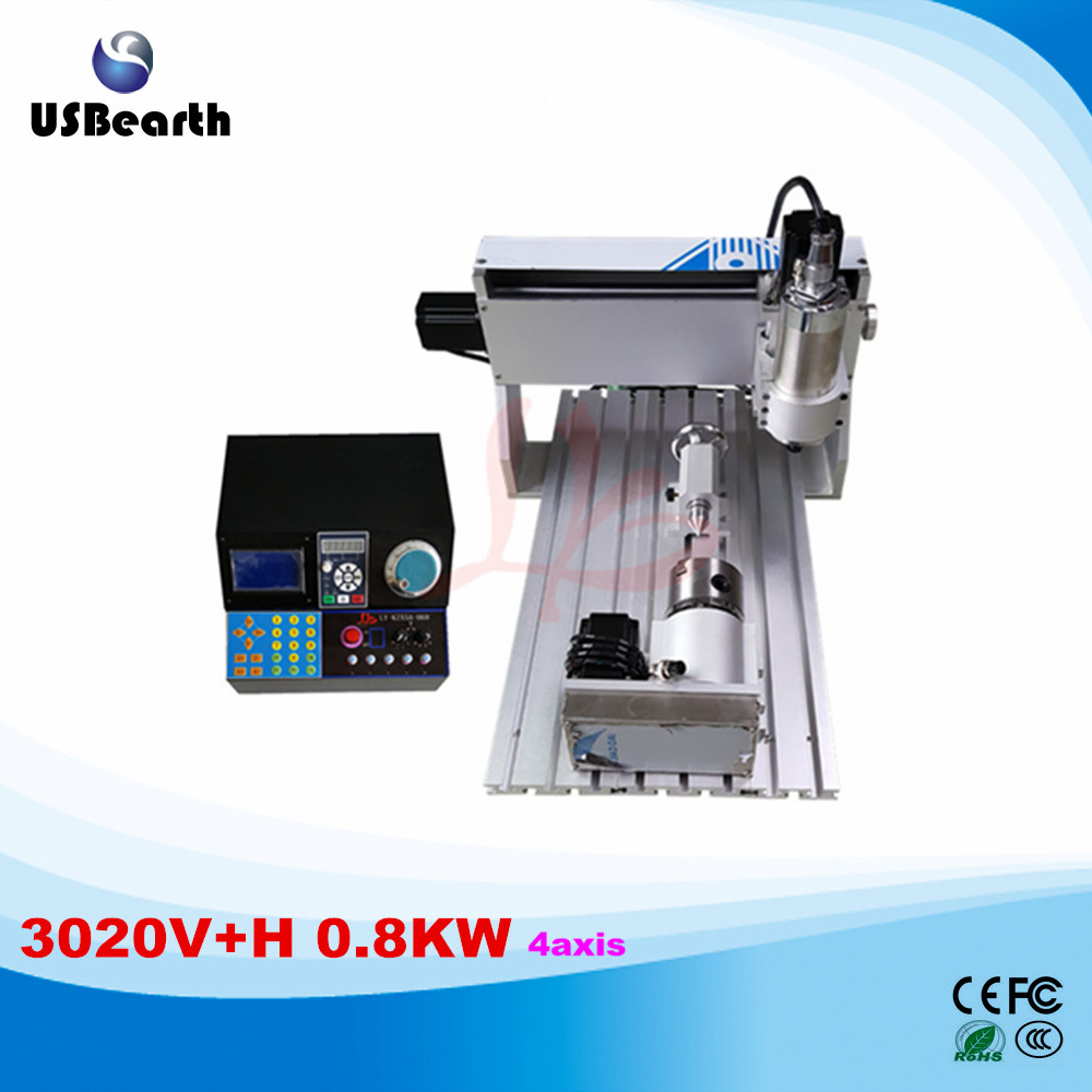 New VFD controller 3020V+H 0.8KW 4axis mini CNC router price new 2015 good price 4 axis cnc router