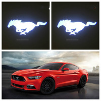 2pcs NEW Custom Made 3D Ghost Shadow Car Door Logo Led Laser Projector Light For Mustang