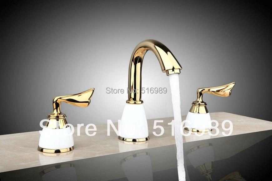 L96188 Perfect Deck Mounted 3 pcs Luxury Golden Excellent Quality Bathtub Tap Mixer Faucet excellent sfera 170x100 l