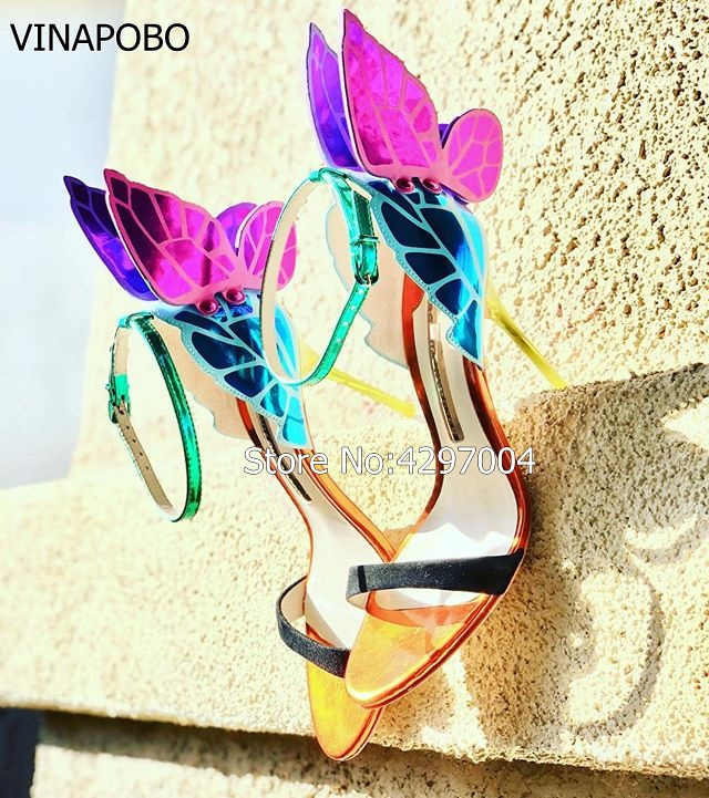 Vinapobo Colorful metallic embroidered leather sandal angel wings pumps party dress wedding shoes butterfly ankle wrap