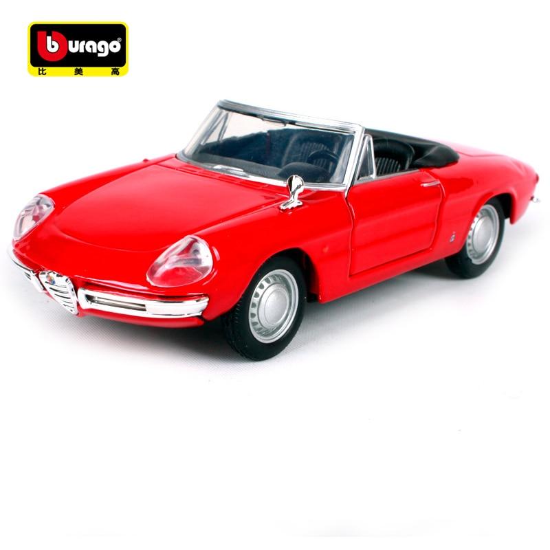 Vintage Alfa Romeo >> Us 22 82 21 Off Bburago 1 32 Vintage Alfa Romeo Spider Red White Car Diecast Open Doors Motorcar Diecast Collecting Car Models For Men 43211 In