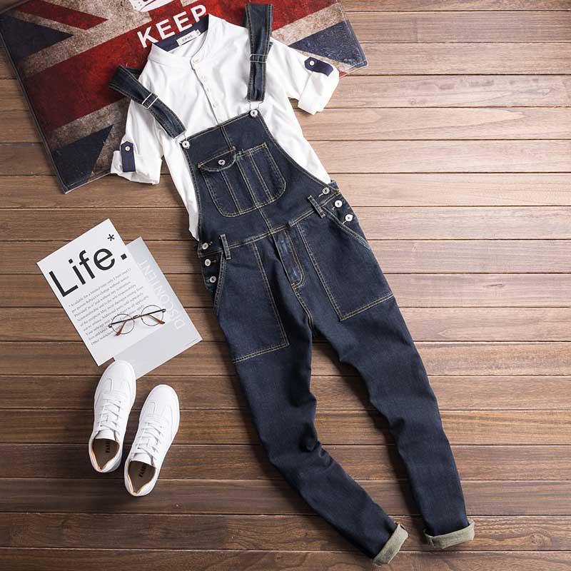 Men Denim Bib Jumpsuit Hip Hop Slim Fit Casual Jean Pants Dark Blue Streetwear Male Suspenders Jumpsuit Size S-2XL (1)