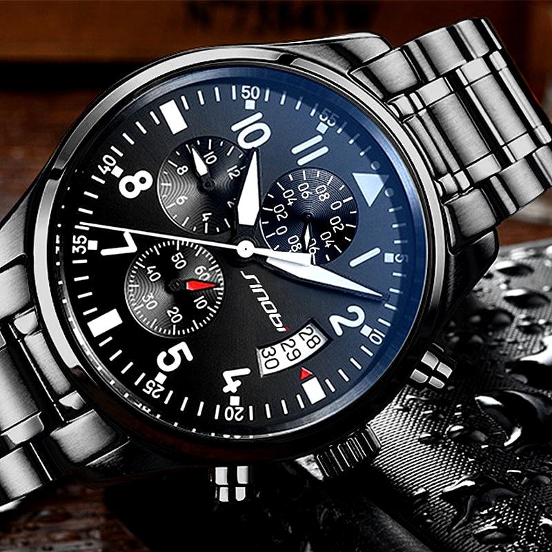 New Arrive SINOBI Pilot Watch Mens Chronograph Wristwatch Waterproof Top Luxury Stainless Steel Diver Males Geneva Quartz Clock