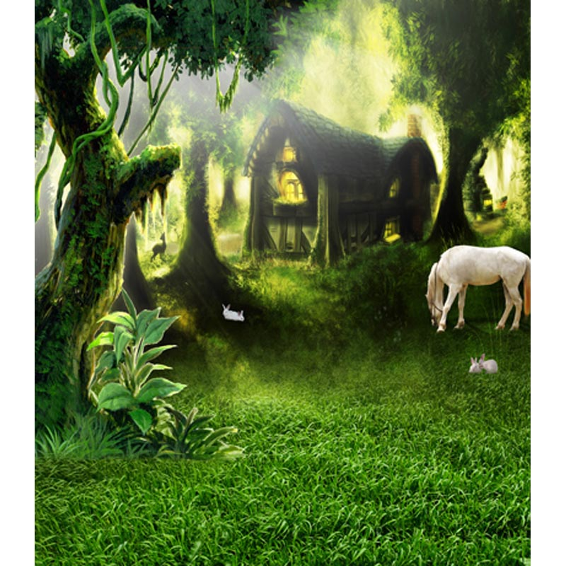 Fancy forest house background story telling photography backdrops for photo studio photography background camera fotografica telling glow