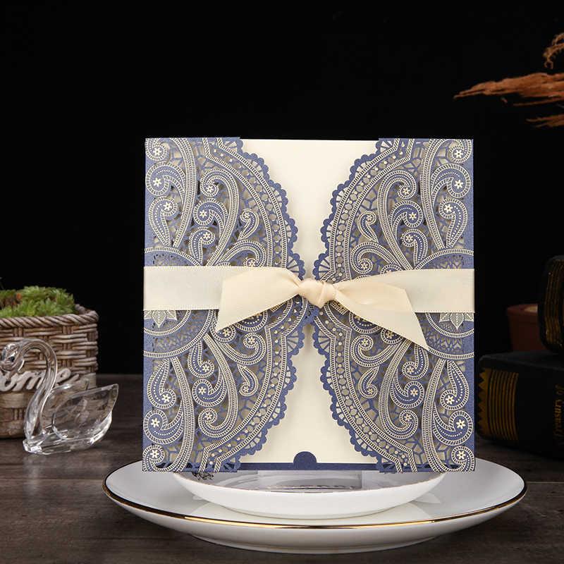1pcs Sample Blue Laser Cut Wedding Invitations Card lace Elegant Greeting Card WIth Ribbon Envelopes Wedding Party Decoration